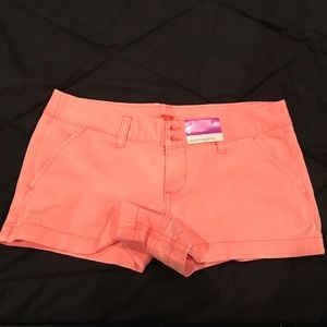 Salmon/Pink Colored Mid Rise Shorts